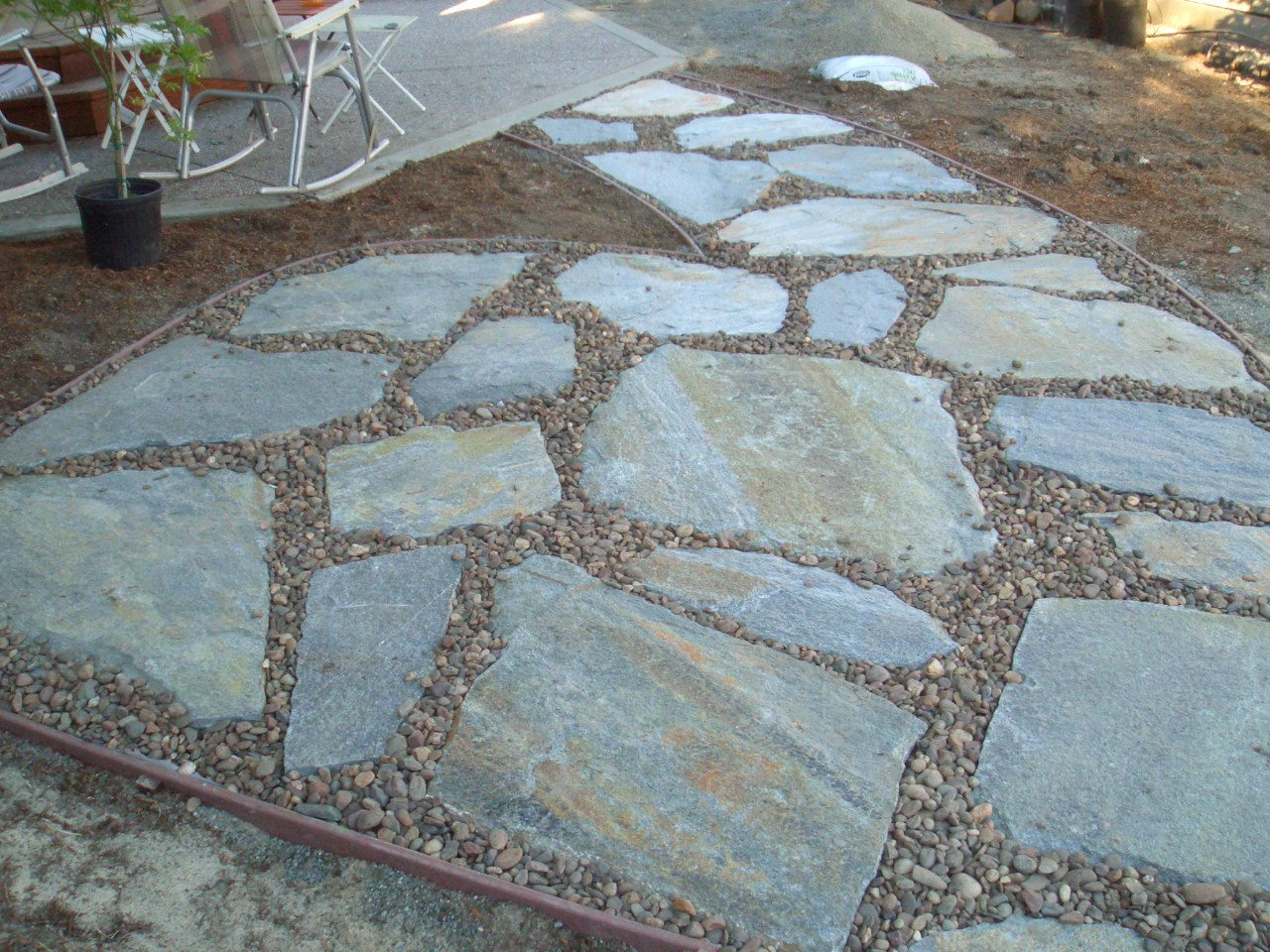 Laying flagstone on gravel 28 images how to install for Laying river rock